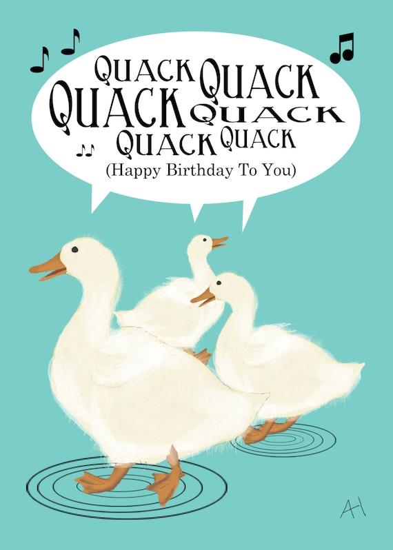 Sweet Ducks Singing Happy Birthday Song Birthday Card 5 Etsy
