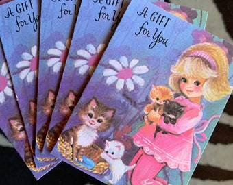 1960's Set of 5 Small Gift Cards - Kitsch - Cute - Retro - Sustainable Vintage - Birthday - Thank You - Kittens