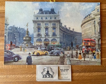 """1956 Dunlop Rubber Co. Ltd Advertising Calendar - """"Piccadilly Circus - London"""" Print by C.E Turner - Automobile - Gift Idea - Birthday"""