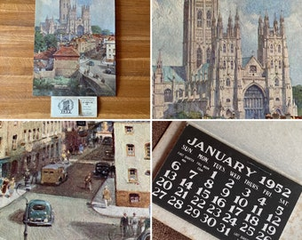 """1952 Dunlop Rubber Co. Ltd Advertising Calendar - """"Canterbury Cathedral"""" Print by C.E Turner - Automobile Collectable - Gift Idea - Birthday"""