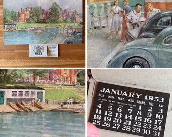 """1953 Dunlop Rubber Co. Ltd Advertising Calendar - """"Hampton Court Palace"""" Print by C.E Turner - Automobile Collectable - Gift Idea - Birthday"""