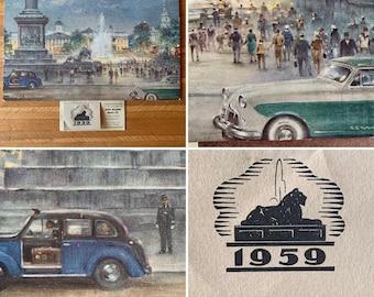 "1959 Dunlop Rubber Co. Ltd Advertising Calendar - ""Trafalgar Square London "" Print by C.E Turner - Automobile - Gift Idea - Birthday"