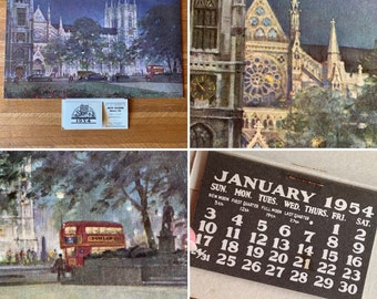 """1954 Dunlop Rubber Co. Ltd Advertising Calendar - """"Westminster Abbey London"""" Print by C.E Turner - Automobile - Gift Idea - Birthday"""