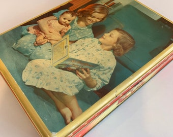 """1950's """"Burton's Gold Medal Biscuits LTD"""" Tin - Blackpool - England - British Made - Kitsch - Home - Kitchen - Sustainable Gift Box"""