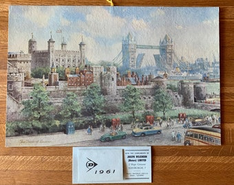 """1961 Dunlop Rubber Co. Ltd Advertising Calendar - """"Tower of London"""" Print by C.E Turner - Automobile - Gift Idea - Birthday"""