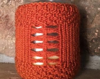 Pumpkin Spice Candle Jar Cozy - a loom knit pattern