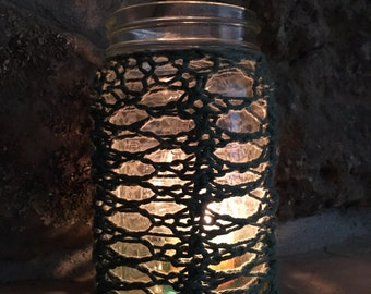Lacy Candle Jar Cozy - a loom knit pattern