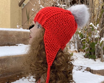 Redstone Earflap Hat -- a loom knit pattern