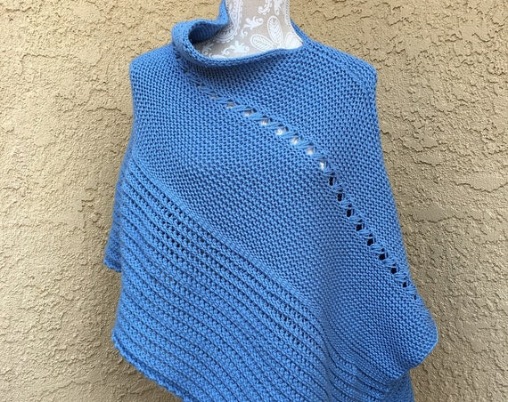 Bluebell Poncho  --  a loom knit pattern