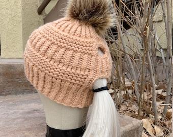 Hi-Lo Ponytail Hat -- a loom knit pattern