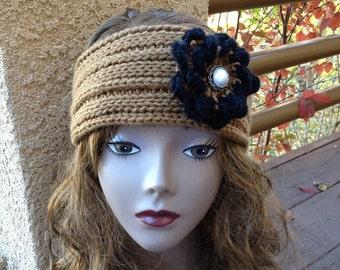 Spiral Grooves Ear Wrap with Bonus Groovy Flower - Loom Knit Patterns