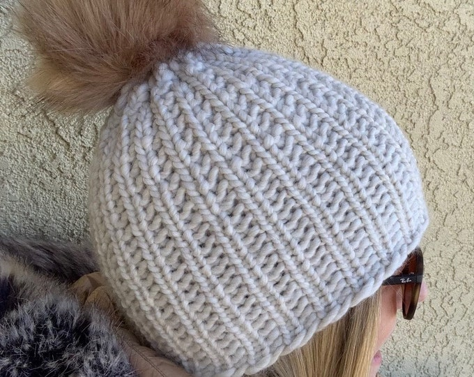 Featured listing image: A-Basin Beanie  --  a loom knit pattern