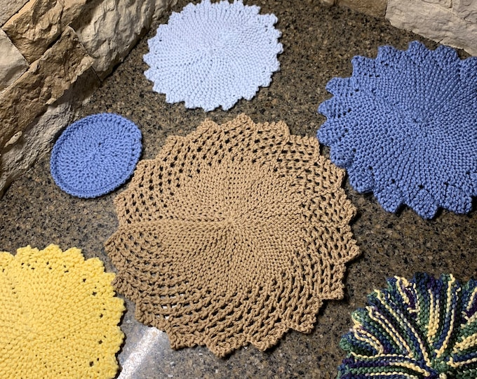 Featured listing image: Dishcloths, Doilies, and Coasters - 6 unique loom knit patterns