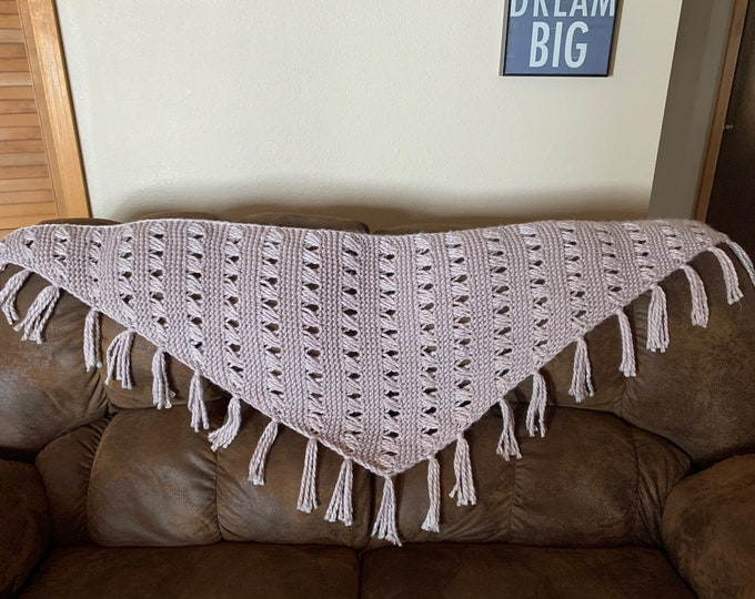 Featured listing image: Home Sweet Home Shawl -- a loom knit pattern