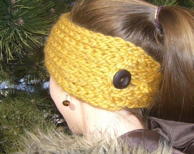 Featured listing image: Buttoned Ear Warmer - a loom knit pattern