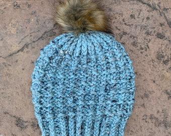 Blue Mesa Beanie  --  a loom knit pattern