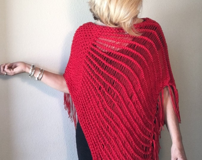 Featured listing image: Indian Paintbrush Poncho - a loom knit pattern
