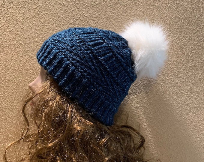Featured listing image: Boulder Beanie -- a loom knit pattern