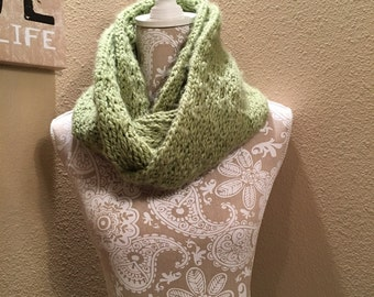 Chunky Lacy Infinity Scarf - a loom knit pattern