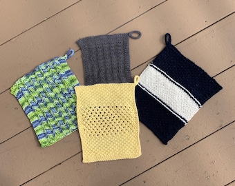 Four Corners Dishcloths - 4 unique loom knit patterns