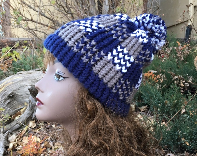 Featured listing image: Plaid Hat - a loom knit pattern