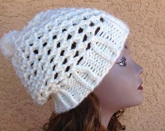 Lattice Stitch Hat - a loom knit pattern