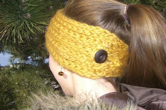 Buttoned Ear Warmer A Loom Knit Pattern Etsy