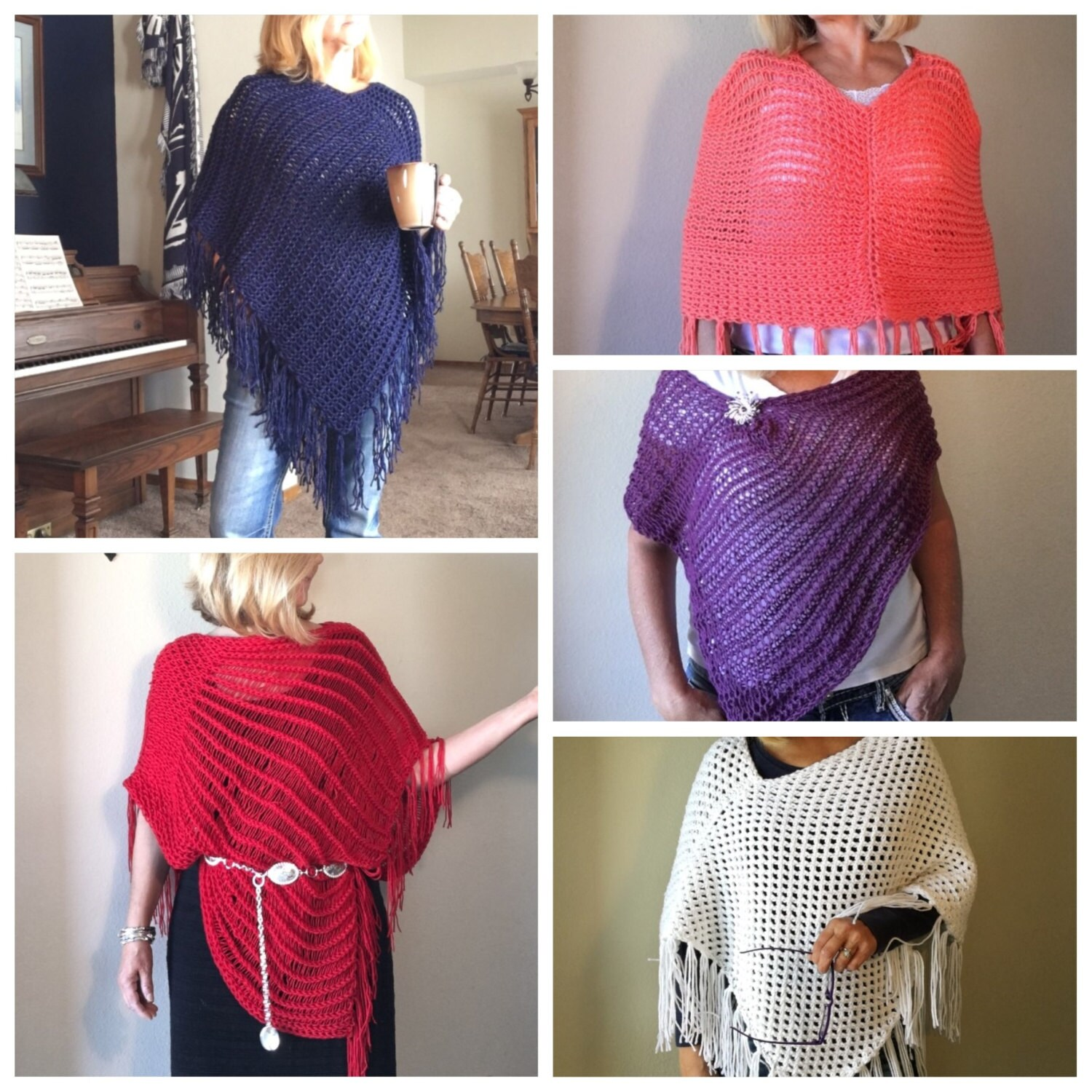 Ponchos Ebook 5 Unique Loom Knit Patterns