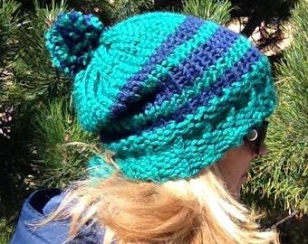 School Spirit Slouchy Hat - a loom knit pattern