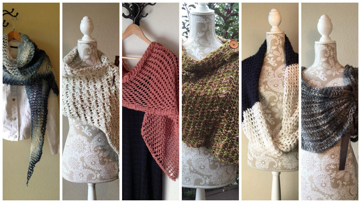 Shawls and Wraps eBook - 6 unique loom knit patterns and stitches
