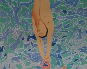 Original 1972 Munich Olympic Diver Poster by David Hockney