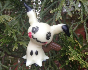 Pokemon Inspired: Mimikyu necklace pendant / holiday ornament - Glows In The Dark! - MADE TO ORDER!