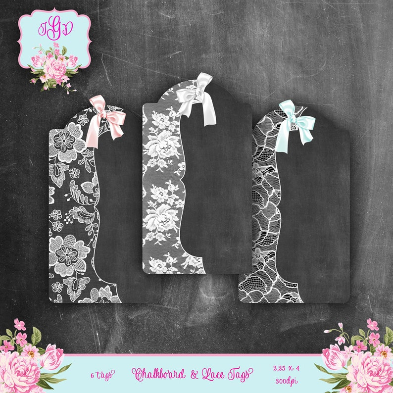 Instant Download set of 6 Chalkboard /& LACE Digital Printable Collage Sheet hang gift tags journaling backgrounds cards