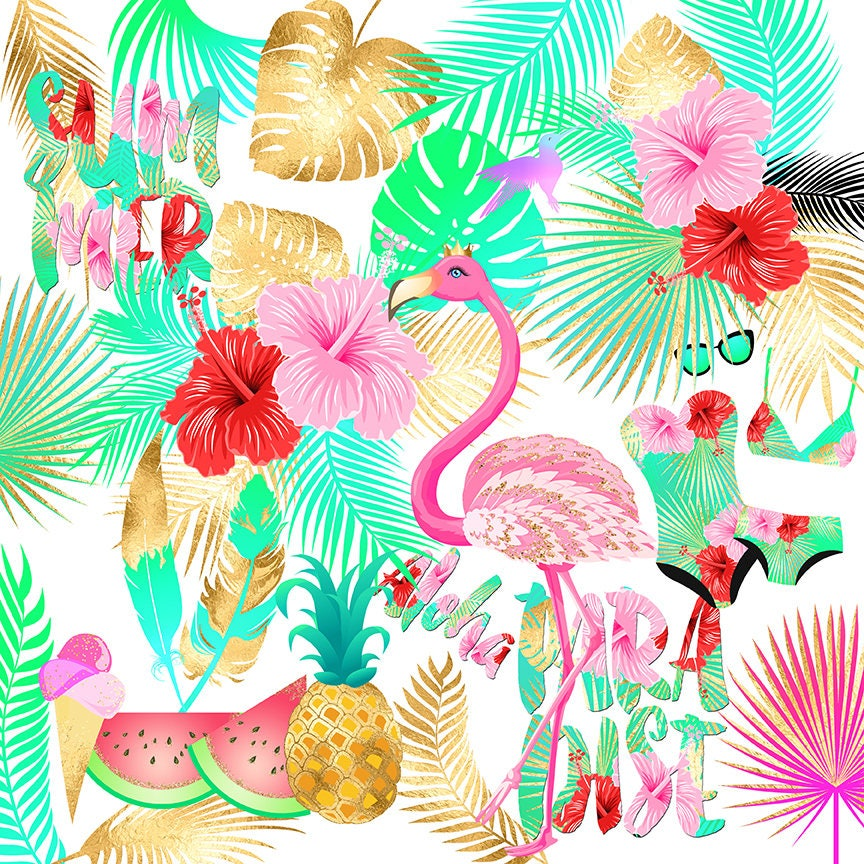 Tropical Clipart Summer Clipart Flamingo Clipart Pineapple