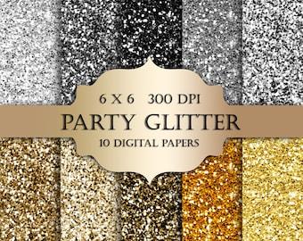 Silver & Gold glitter digital paper - Glitter gold silver Scrapbook Digital Paper black glitter backgrounds sparkle invitations stickers