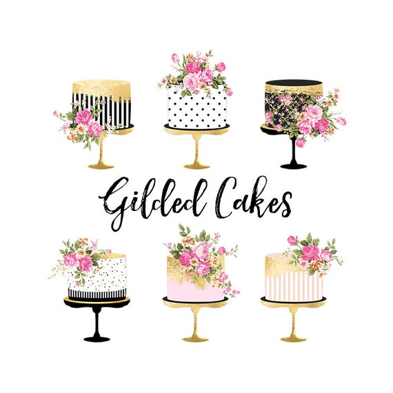 Marvelous Cake Clipart Gold Foil Cake Clipart Shabby Chic Clipart Etsy Personalised Birthday Cards Cominlily Jamesorg