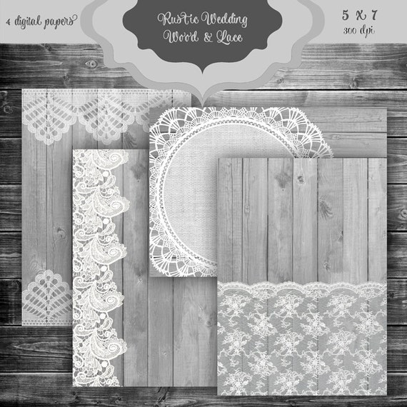 rustic wood lace digital paper pack vintage wood and lace etsy