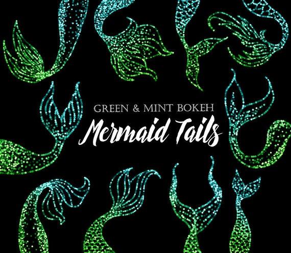 Mermaid Clipart Mermaid Tail Clipart Cute Siren Bokeh Etsy
