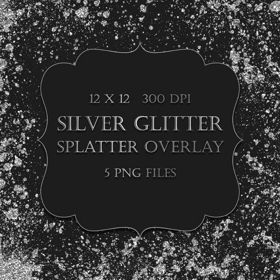 Silver Glitter Splatter Clipart Overlay - silver glitter watercolor ...