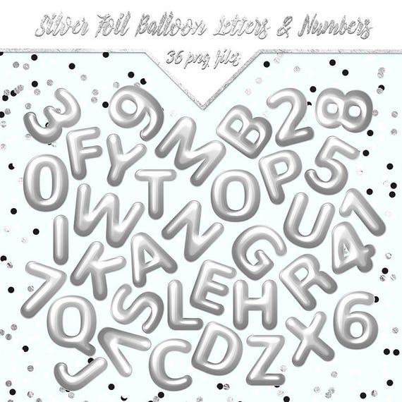 Alphabet Foil Silvers: Silver Foil Balloon Letters & Numbers Alphabet Clipart