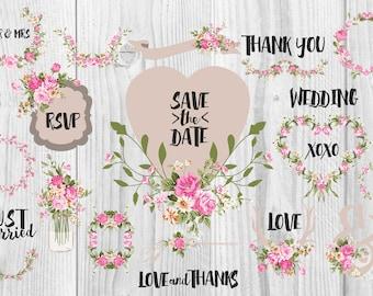 Wedding Clipart, Shabby Chic Clipart - rustic flower wreath laurels jar frames scrapbooking, wedding invitations, save the date,