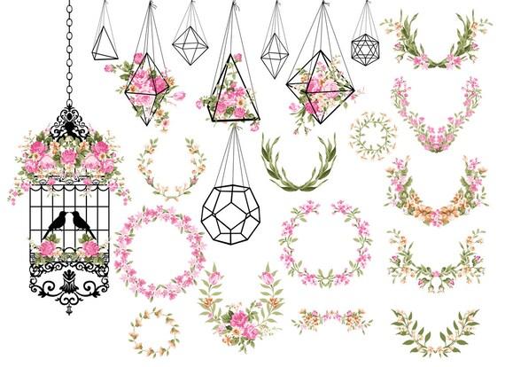Wedding Clipart Shabby Chic Clipart terrarium clipart