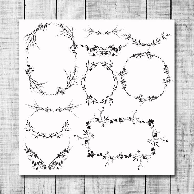 Wreaths /& Laurels Digital Clip Art wildflower wreaths laurels foliage handdrawn flowers black ink flowers floral frames planner stickers