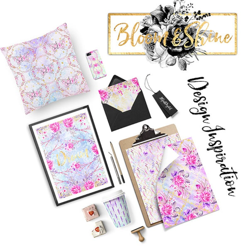 Aesthetic Roses Digital Paper Watercolor shabby chic gold foil indie floral wedding flowers painting pink aesthetic grunge aesthetic