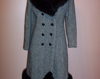 VINTAGE 1960S Coat/60s Rothmoor Double Breasted Wool and Faux Fur Coat/60s Vintage Winter Coat (Medium)