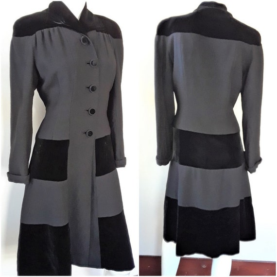 1940s Black Wool Crepe & Rayon Velvet Fitted Princ