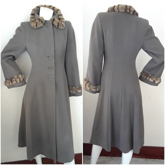 Vintage Late 1930s Early 1940s Wool & Fur Princess