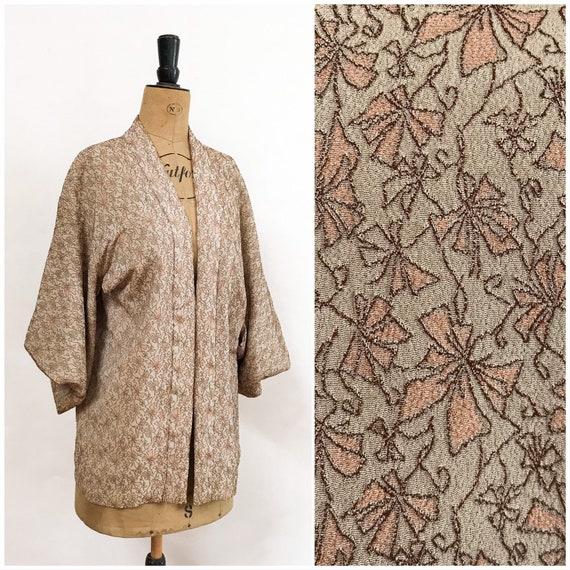 Silk Kimono - Kimono Jacket - 1970's Jacket - Beig