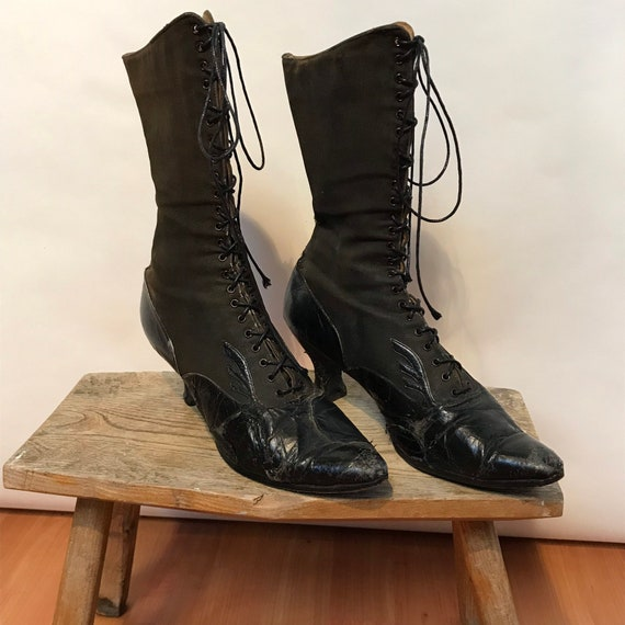 Black Victorian Boots - Black Canvas and Leather B