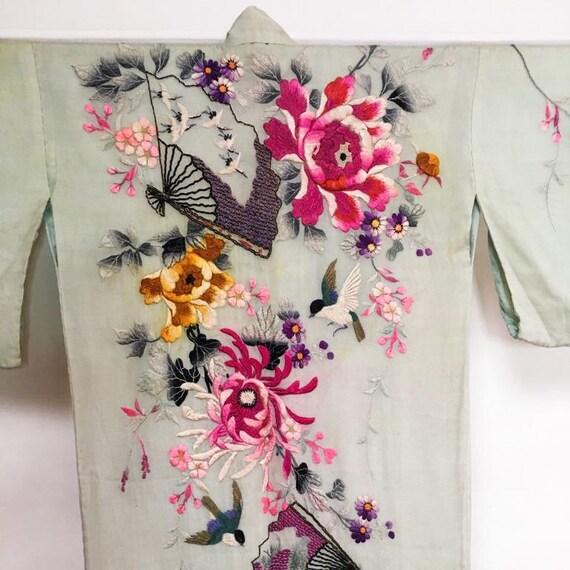 Silk Kimono - Green Pink Floral Kimono - Japanese